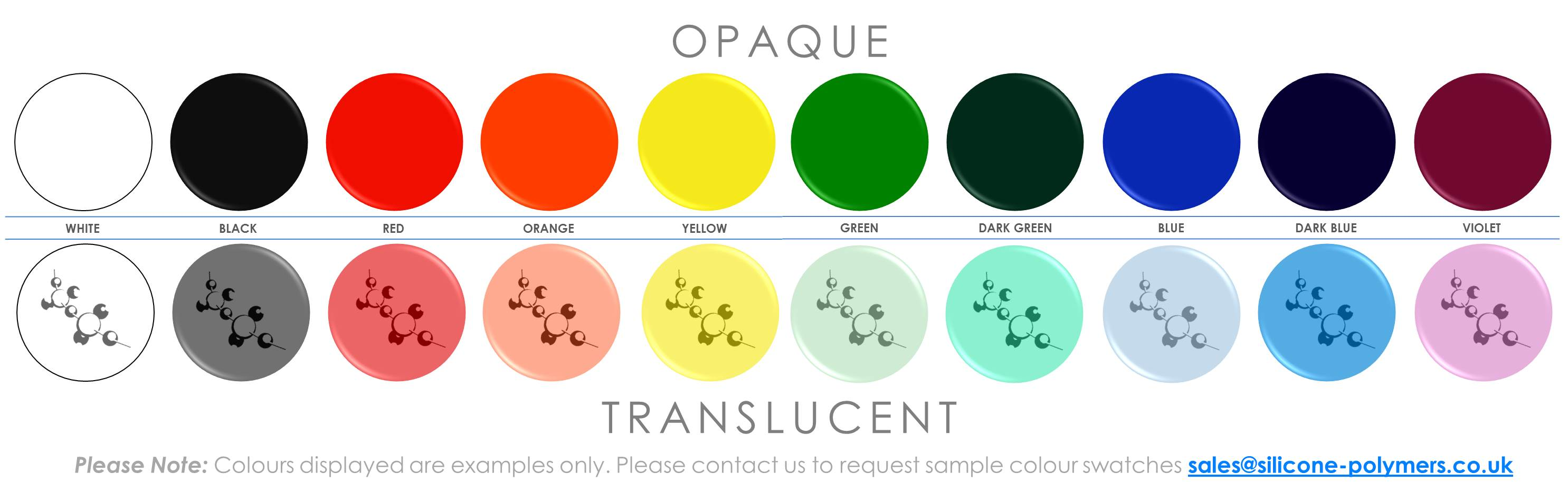 Opaque and Translucent Colour Swatches